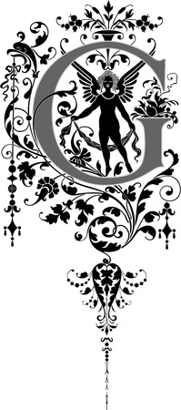 capitals: Fantasy style, English alphabet, letter G, Grayscale Illustration