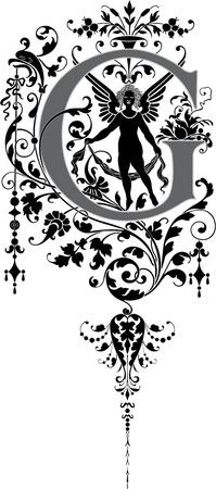 chapiteaux: Style fantastique, alphabet anglais, lettre G, Niveaux de gris