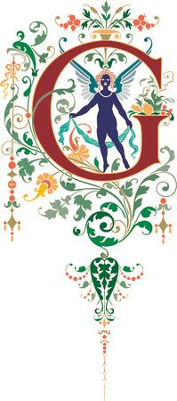 twenty six: Fantasy style, English alphabet, letter G, Colored Illustration