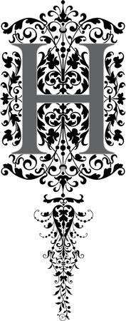 stílus: Fantasy stílusban, angol ábécé, H betű, szürkeárnyalatos