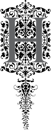 style: Fantasy style, English alphabet, letter H, Grayscale