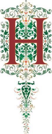 style: Estilo fantasía, alfabeto Inglés, letra H, de color