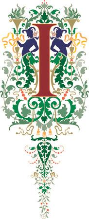 twenty six: Fantasy style, English alphabet, letter I, Colored
