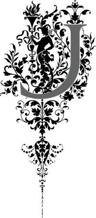 letter j: Fantasy style, English alphabet, letter J, Grayscale
