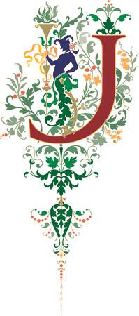 twenty six: Fantasy style, English alphabet, letter J, Colored Illustration