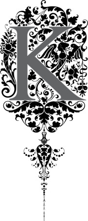 Fantasy style, English alphabet, letter K, Grayscale Vector
