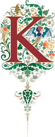 alphabet lettre: Style fantastique, alphabet anglais, lettre K, couleur