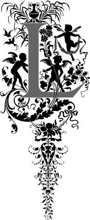 ファンタジーのスタイル、英語のアルファベット、手紙 L は、グレースケール