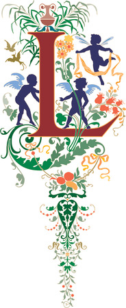 twenty six: Fantasy style, English alphabet, letter L, Colored
