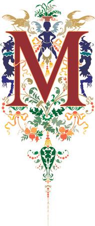 twenty six: Fantasy style, English alphabet, letter M, Colored Illustration