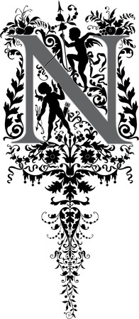 Estilo fantasía, alfabeto Inglés, letra N, escala de grises