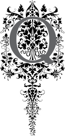 Fantasy style, English alphabet, letter Q, Grayscale Vector
