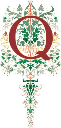Fantasy style, English alphabet, letter Q, Colored
