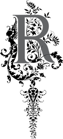 Fantasy style, English alphabet, letter R, Grayscale Vector