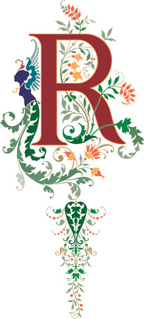 Fantasy style, English alphabet, letter R, Colored Illustration