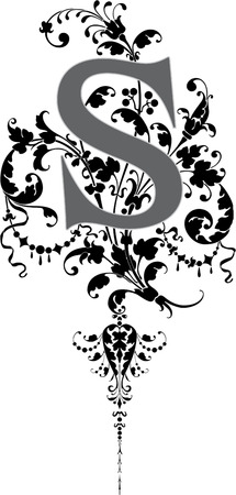 Fantasy style, English alphabet, letter S, Grayscale Vector