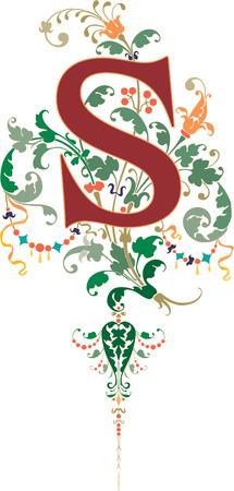 tipografia: Estilo fantas�a, alfabeto Ingl�s, letra S, de color