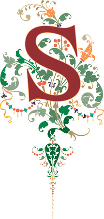 Fantasy style, English alphabet, letter S, Colored Illustration