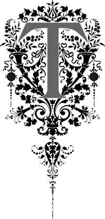 fantasia: Estilo fantas�a, alfabeto Ingl�s, letra T, escala de grises Vectores