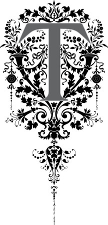 c r t: Fantasy style, English alphabet, letter T, Grayscale