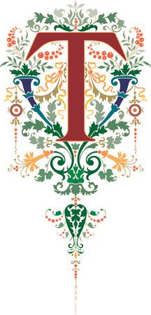 Fantasy style, English alphabet, letter T, Colored Illustration