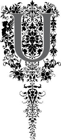 the decor: Estilo fantas�a, alfabeto Ingl�s, letra U, en escala de grises