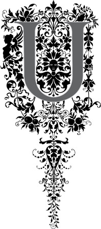 twenty six: Fantasy style, English alphabet, letter U, Grayscale Illustration