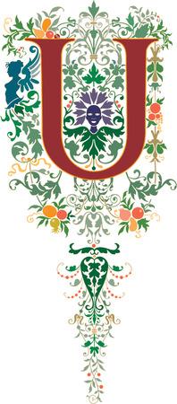 Fantasy style, English alphabet, letter U, Colored Stock Vector - 23262869