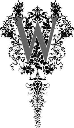 twenty six: Fantasy style, English alphabet, letter W, Grayscale