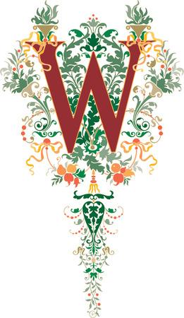 ファンタジーのスタイル、英語のアルファベット、手紙 W、色