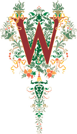 Fantasy style, English alphabet, letter W, Colored
