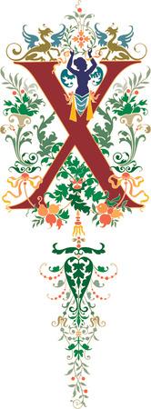 alphabet lettre: le style Fantasy, alphabet anglais, lettre X, color�