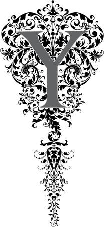 twenty six: Fantasy style, English alphabet, letter Y, Grayscale