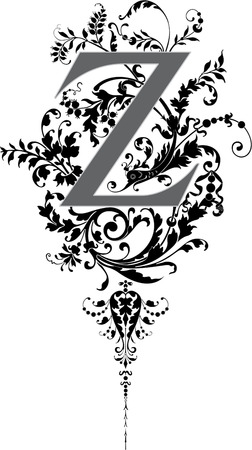 Fantasy style, English alphabet, letter Z, Grayscale Vector