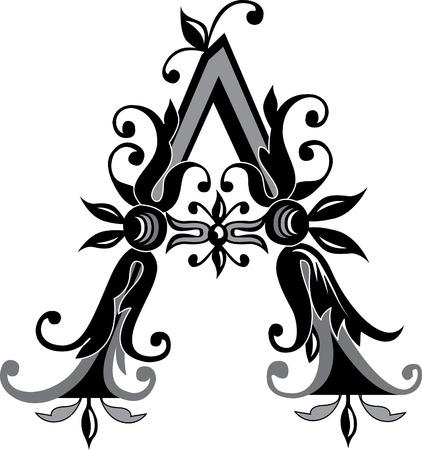 alphabet lettre: Feuillage alphabet anglais, lettre A, noir et blanc