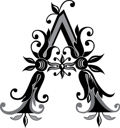 Foliage English alphabet, letter A, Black and White Vector