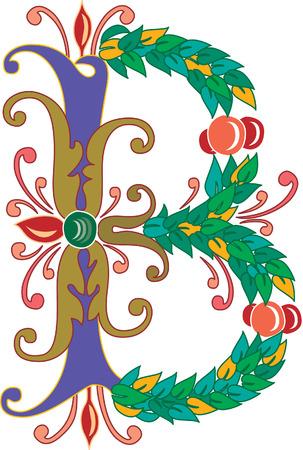 alphabet lettre: Alphabet feuillage anglais, lettre B, couleur Illustration