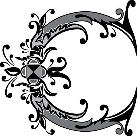 Feuillage alphabet anglais, lettre C, Noir et blanc