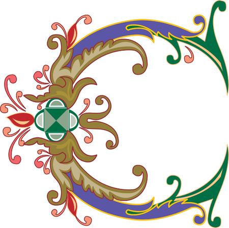 Foliage English alphabet, letter C, Colored Illustration