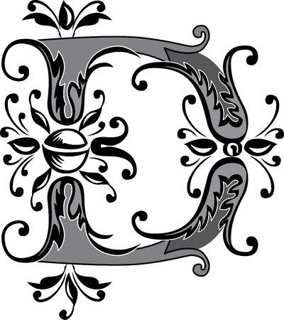 folhagem: Folhagem Ingl�s alfabeto, letra D, preto e branco Ilustra��o