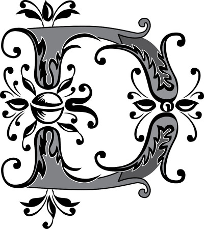 Foliage English alphabet, letter D, Black and White Vector