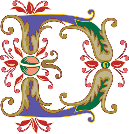 Foliage English alphabet, letter D, Colored