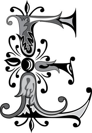 Feuillage alphabet anglais, lettre E, Noir et blanc