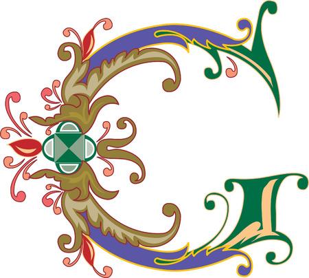Alphabet feuillage anglais, lettre G, coloré