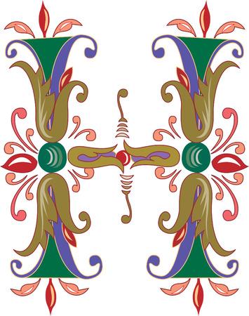 Foliage English alphabet, letter H, Colored Illustration