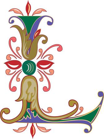 Foliage English alphabet, letter L, Colored Vector