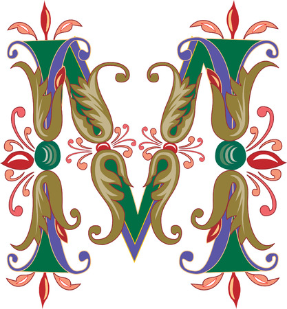 Foliage English alphabet, letter M, Colored Vector