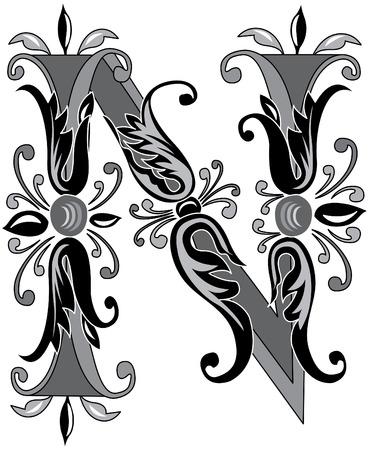 Alphabet feuillage anglais, la lettre N, noir et blanc
