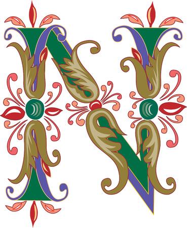 alphabet lettre: Feuillage alphabet anglais, la lettre N, color� Illustration