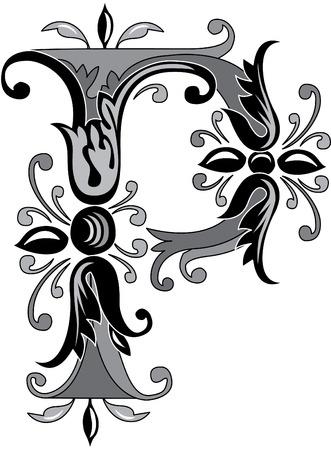 Alphabet feuillage anglais, lettre P, noir et blanc